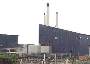 boilerhouse with cooling towers and radiators